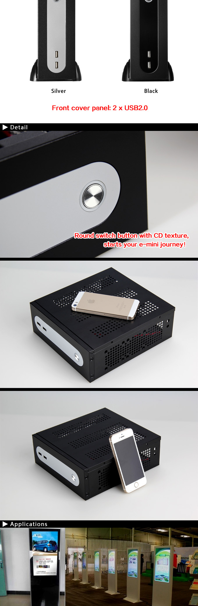 Realan G3 Steel Mini ITX HTPC Case With Power Supply, 2 x WIFI, 6 x COM, 2 x USB2.0 HTPC Chassis