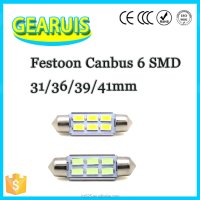 Biggest promotion Car Festoon C5W Canbus 5630 LED 6 SMD 31mm 36mm 39mm 41mm auto lamp bulb Dome light White interior Light 12V