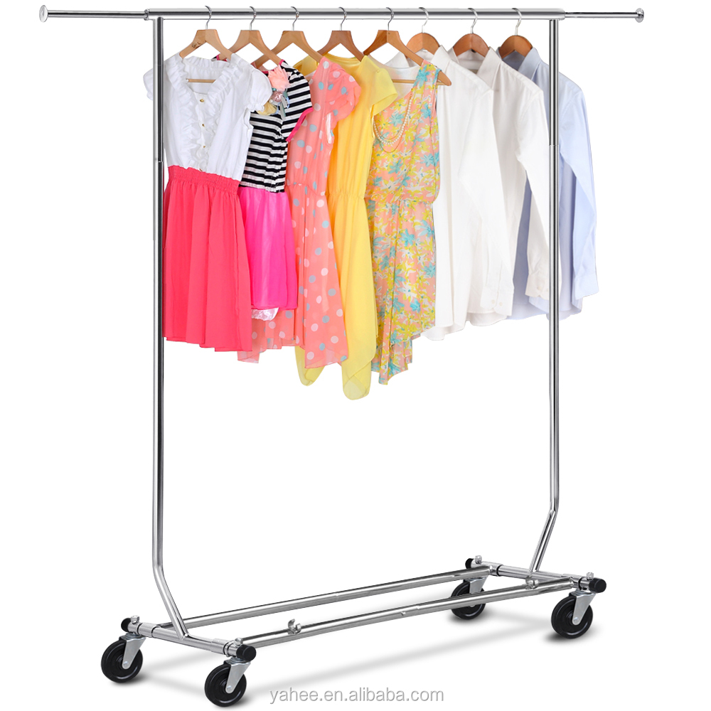 Stainless Steel Collapsible Display Clothes Rack With Shoes Shelf