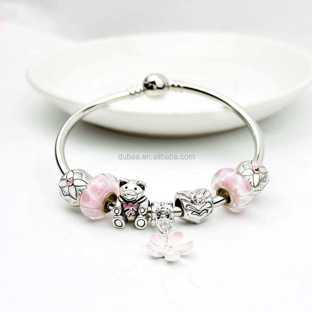 silver bangle charm bracelet with european charms
