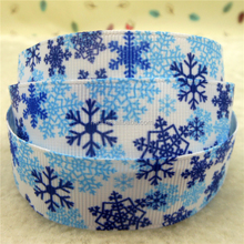 Christmas Ribbon Decorative Ribbon Snowflakes Printed Grosgrain Ribbon