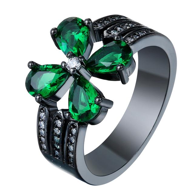 Diamond Engagement Ring Four-leaf clover shape green zircon plating black gold women fashion jewelry Finger Ring