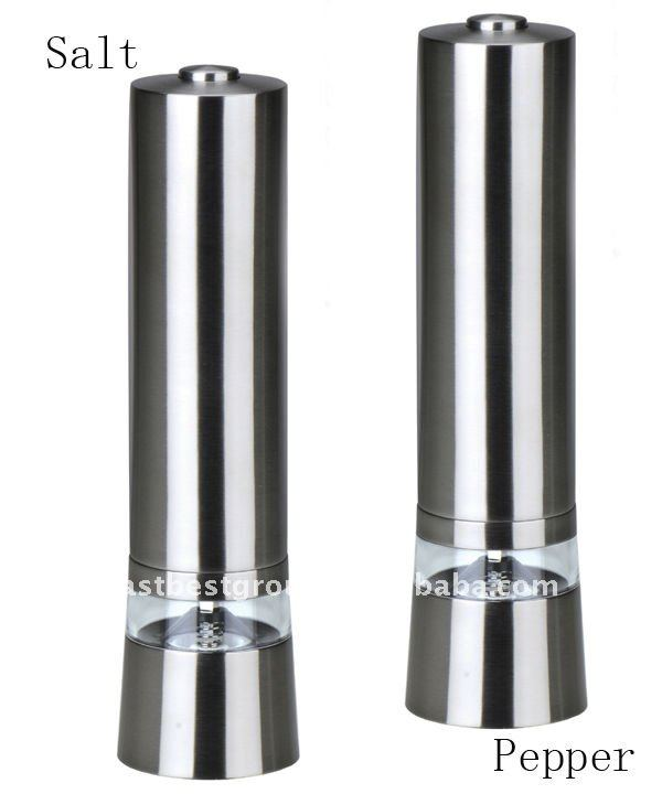 East Best Stainless steel electric salt & pepper mill set Model No. EB834 emery grinding stone