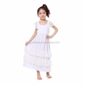 Elegant lace ruffle vintage dress children white long maxi dress