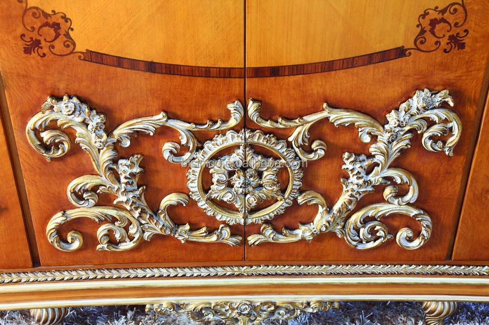 Luxury French Style Bookcase New Baroque Golden Carved