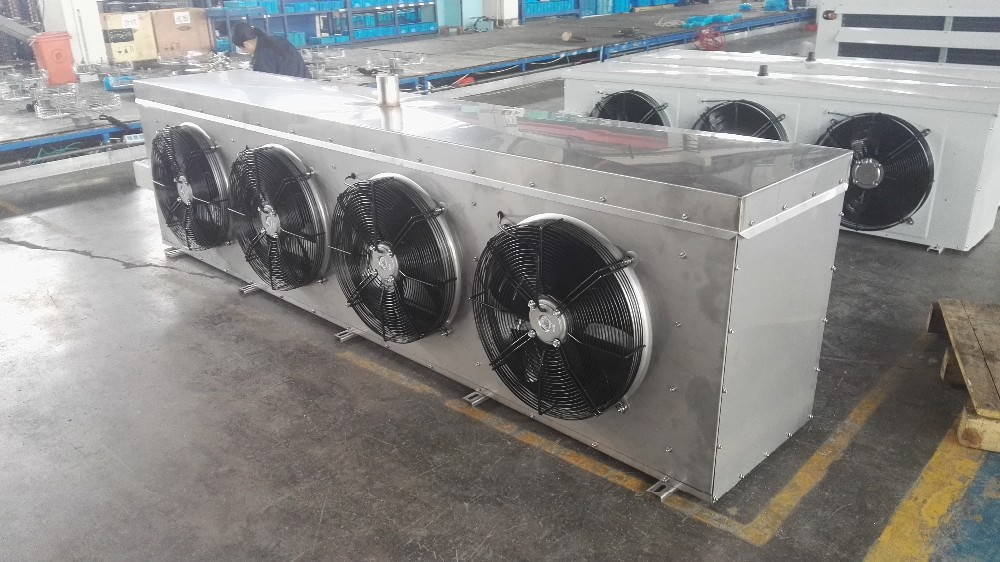 Stainless air cooled water defrost evaporator,stainless air cooler,food cooling room use stainless evaporative unit cooler