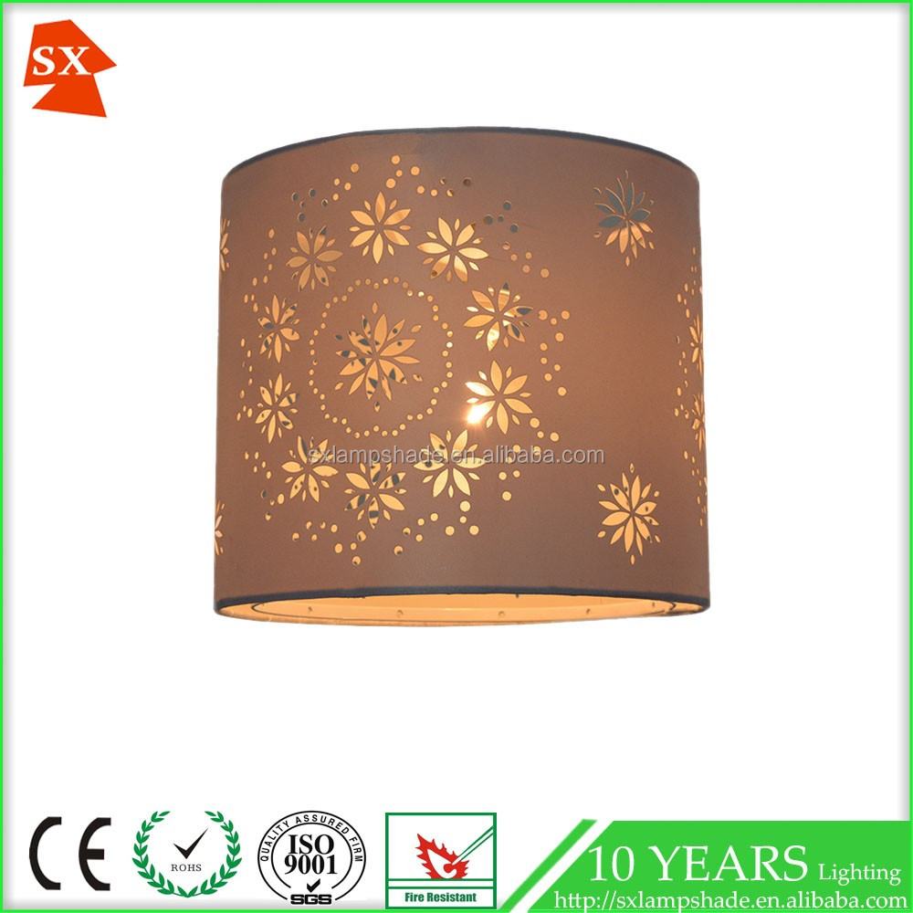 colorful satin fabric laser cut PVC table or pendant lamp shade