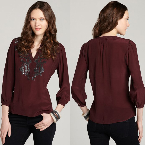 2014 New Arrival Maroon Sequins Embellished V Neck Chiffon Blouse