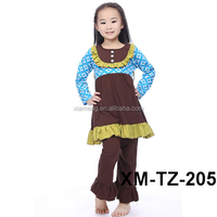 Wholesale Halloween baby girl outfits shirts and pants sets new design pumpkin cloth for girls bodysuits chevron summer outfits