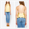 Super Comfortable blouse Summer Open Back women Yellow Silk Sexy Tank Top