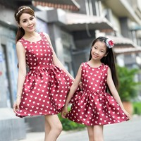 2015 summer style mother and child dress, family matching clothes
