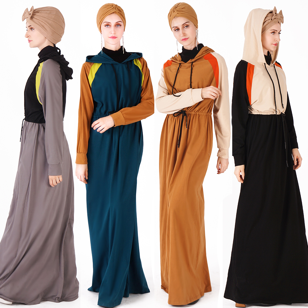 2019  Hoodie Maxi Dress Women Activewear Jersey Dubai Long Sleeve cotton sport Abaya