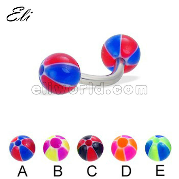 Wholesale Fashion Curved Barbells with colorful ball, eyebrow ring body jewelry