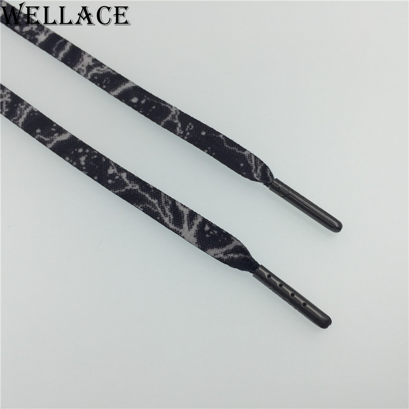 Wellace custom printed shoes flat elastic shoelaces braiding laces supply
