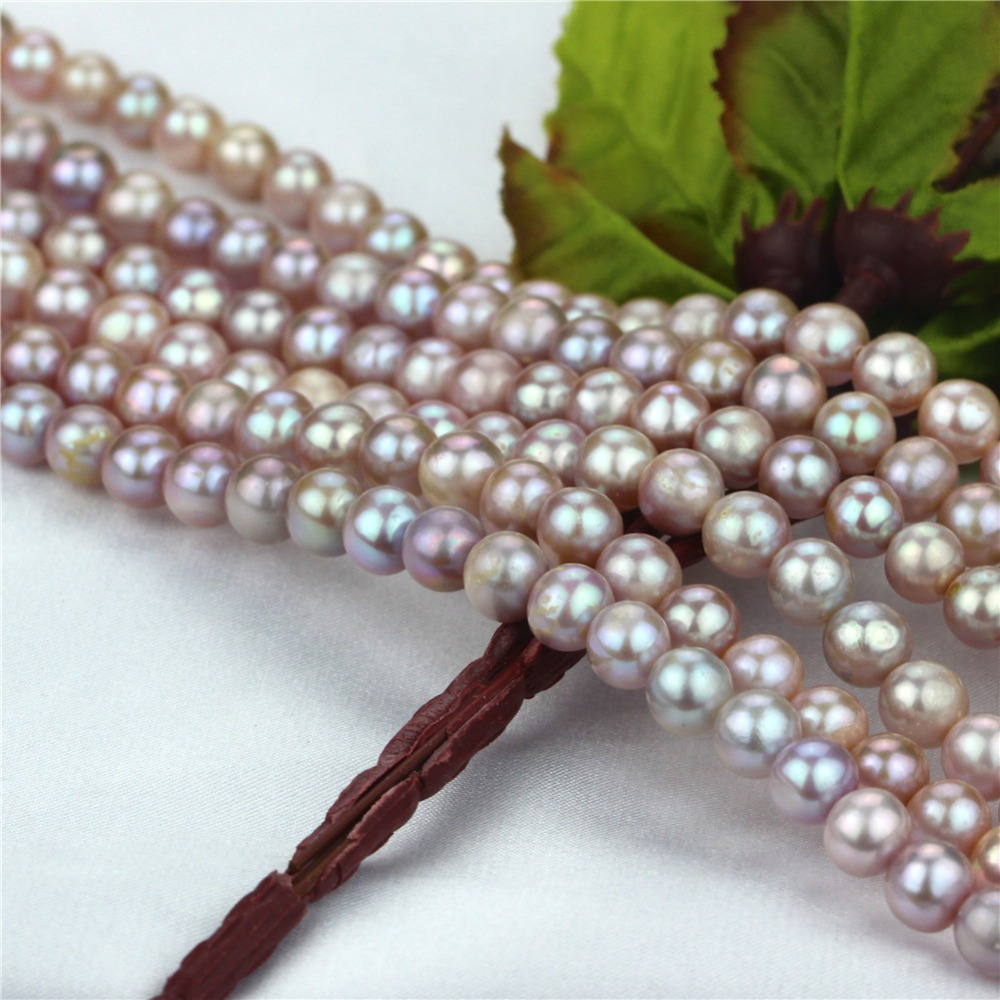 7mm off round AA- lavender color natural real pearl wholesale