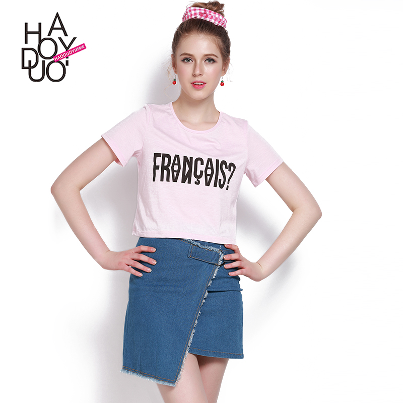 HAODUOYI New Fashion Women Letter Print Tees Crew Neck Casual Crop Tops Pink <strong>Active</strong> Short Sleeve Loose T-shirt for Wholesale