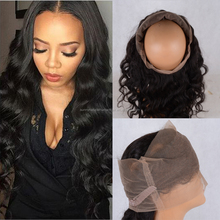peruvian human hair lace closures frontal 360 loose body wave cheap Pre Plucked 360 lace frontal degree natural wave
