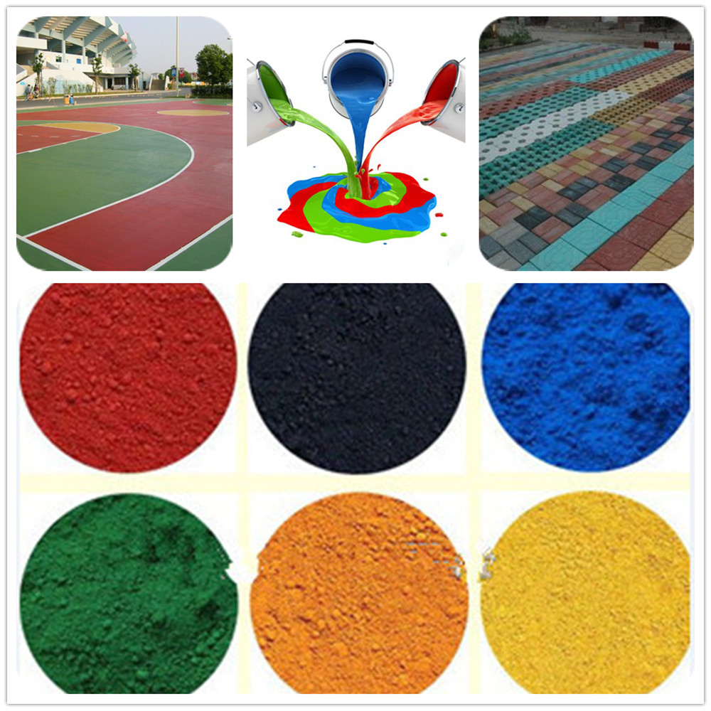PVC pigments 95% fe2o3 iron oxide red yellow pigments and black powder for concrets mix/asphalt hot/concrete color