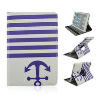 Hot Selling Anchor Of Pirates &Wave Lines Pattern Cover On Rotating Standing Case For Apple iPad mini From Alibaba China(purple)