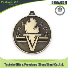 custom torch shaped sport olympic metal medal with ribbon for souvenirs