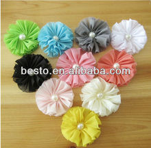 Elegant pearl center shabby chiffon flower make fabric flower brooch
