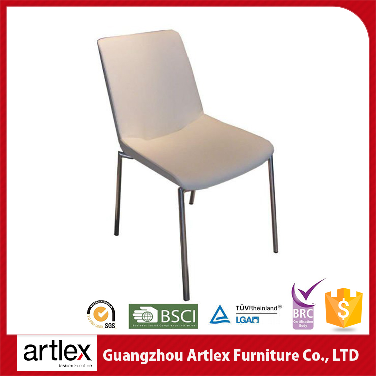 Modern High Back White Leather Wedding Chair Metal Dining Chair