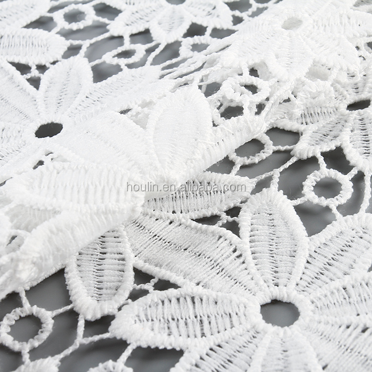 professional ODM/OEM 100%polyester white sheer dubai 3D flower embroidery lace fabric for table cloth