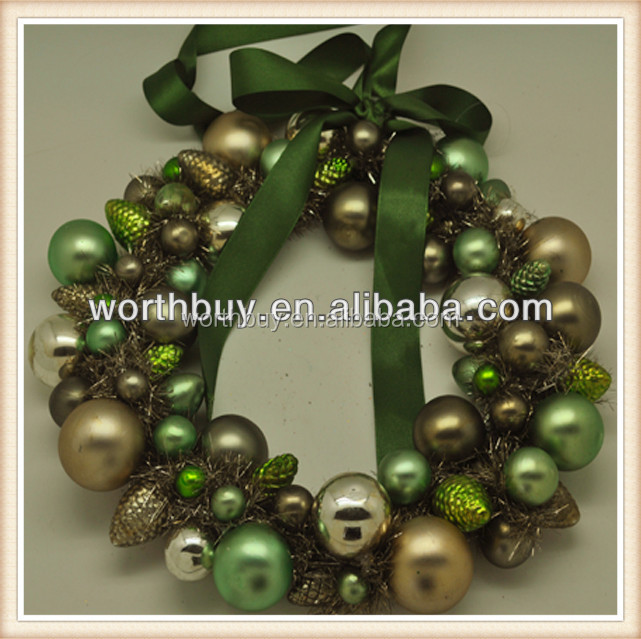 "8""pine corn,jingle bell & ribbon bow decorated Glass vintage indoor christmas wreaths"
