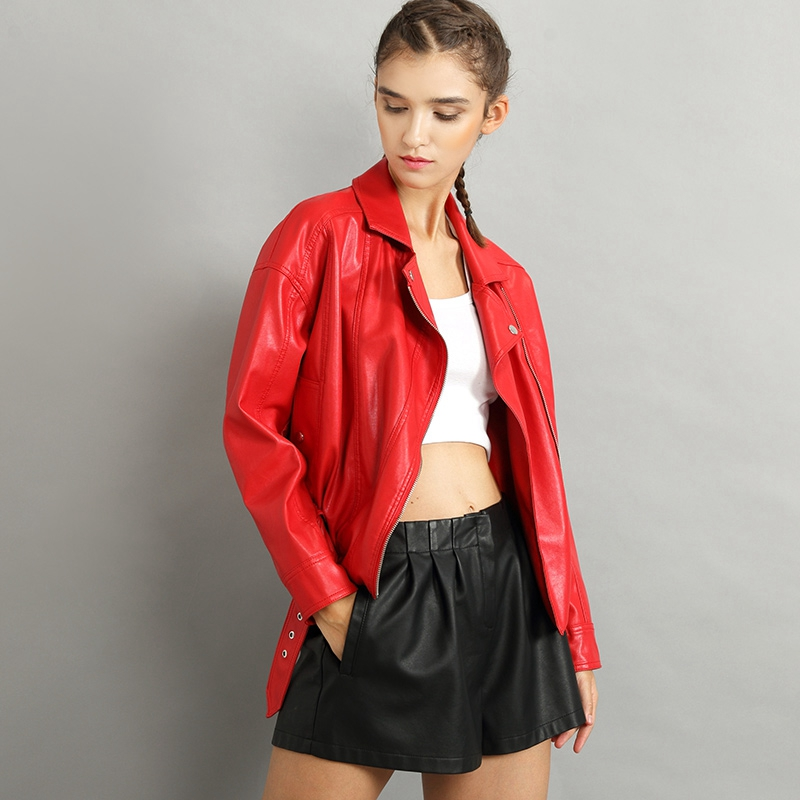 New Style Women Coat Leather Jacket Snap Buttons Leather Biker Jacket