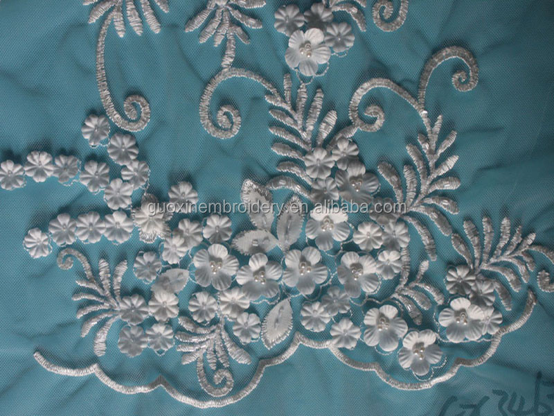3D flower handwork French lace/Beaded Embroidery wedding Lace /bridal wedding lace fabric