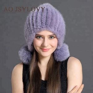Factory Genuine Mink Fur Winter Hat With Fox Pom