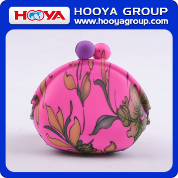 BG48516 Trendy personalized flower printed silicone coin purse clasp wallet