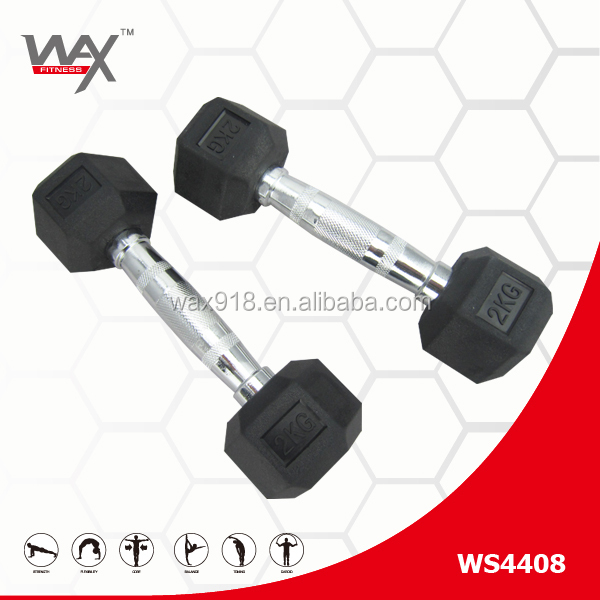 Commercial Use Black Rubber Coated Dumbbell,8 Sided Rubber Hex Dumbbell