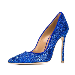 Blue glitter leather pumps custom design women high heels size 45