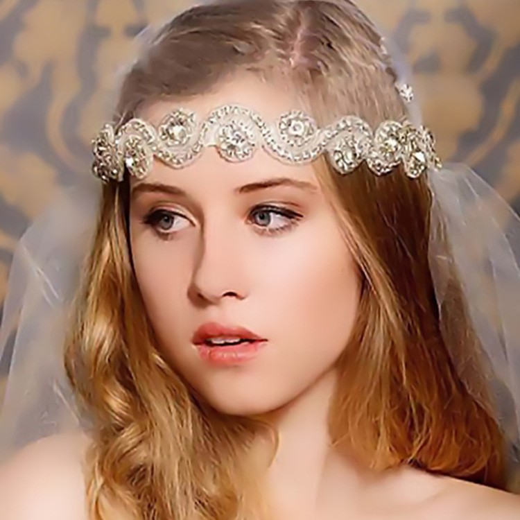Handmade Rhinestone Crystal Bohemia Stylish Crystal Beaded Elastic Fashion Headband