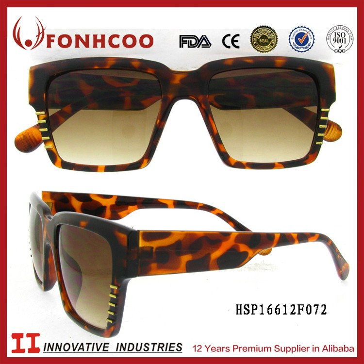 FONHCOO Low Price Plastic Pictures Image Brown Full Frame Leopard Sunglasses