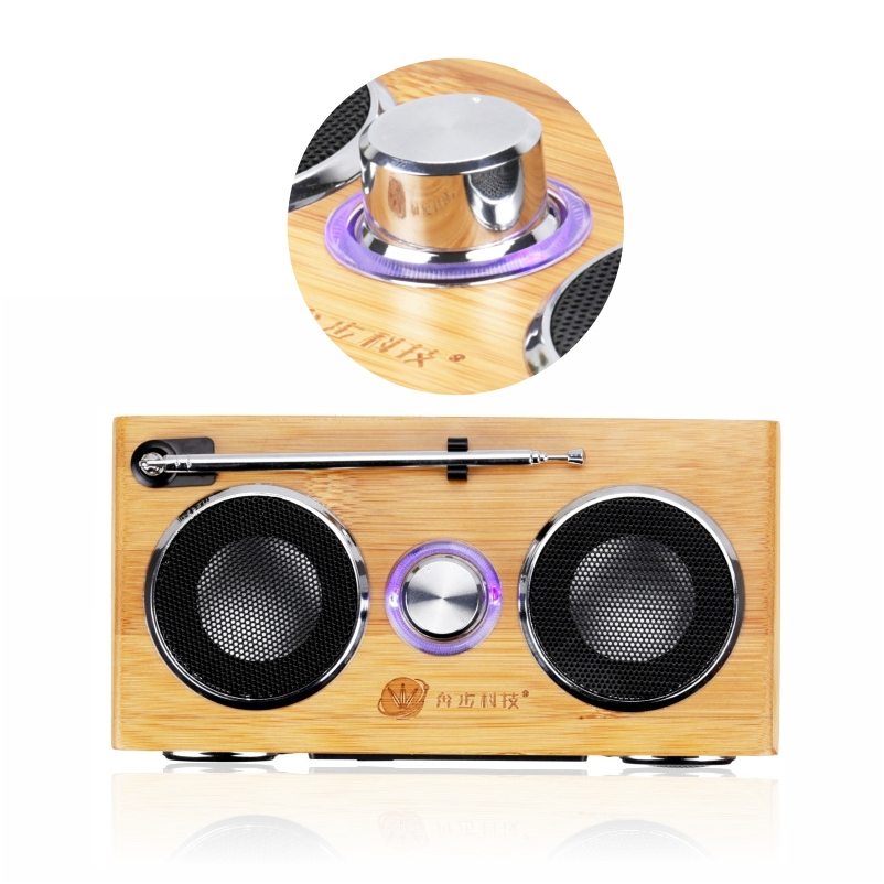 Stereo loudspeakers usb music speakers with FM radio for home high quality 2017 new Bamboo wood Multifunctional mini Speaker