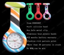Colorful smile pattern print silicone pocket nurse watch SN005007