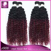 Latest hair extensions two tone colors #1b/99j ombre Brazilian human hair weave extensions curlyombre human hair extensions
