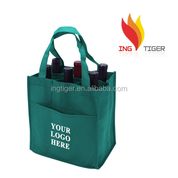 2016 Hot Sales For Promotion Imprint Customized Logo Non Woven Wine Bag