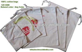 100% cotton drawstring bags with or without logo printing