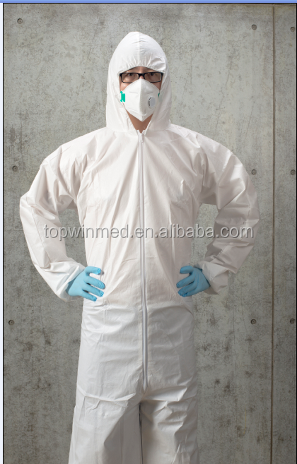 Disposable permeable coverall with hood and head cover for workwear and medical