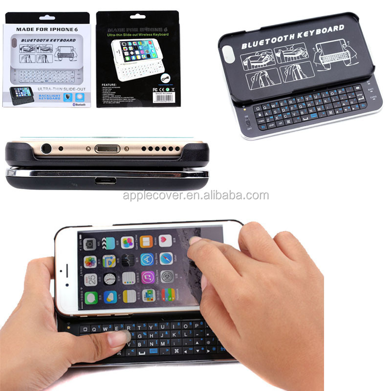 PU Leather bluetooth keyboard case for iphone 6 with stand