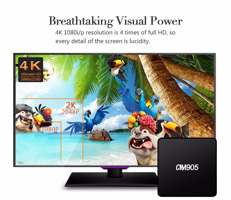 2017 Amlogic S905x Quad Core Android 6.0 HD channels android tv box