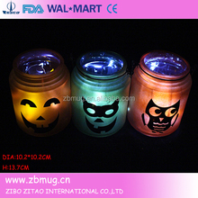 halloween decoration hand painted frosted glass candle jars