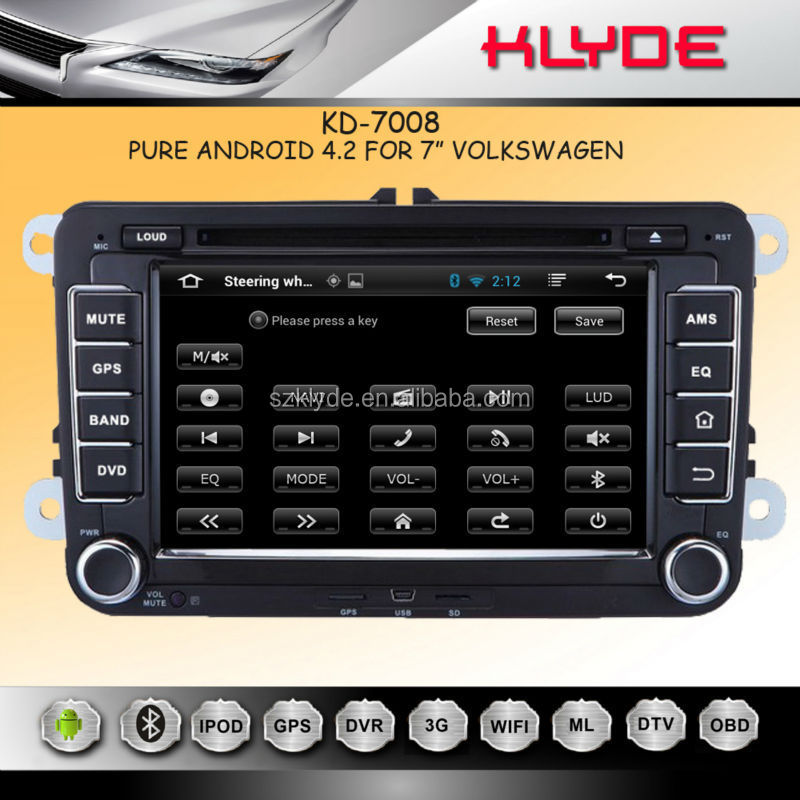 "KLYDE 7"" Android 4.2.2 for vw dvd Car Radio with Mirror Link Capacitive Touch Screen Multipoint support OBD2"