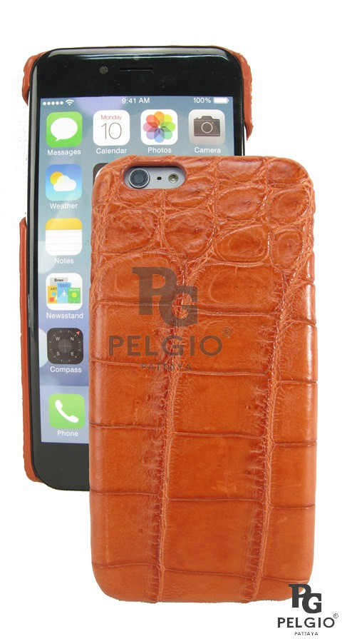 "PELGIO Genuine Crocodile Belly Skin Mobile Phone i6 4.7"" Hard Case Brown"