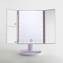 Lighted Makeup Mirror, Touch Screen LED Table Makeup Mirror -Three Panel 24pcs Led Light Tabletop Cosmetic Mirror with USB