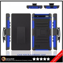 Keno Tough Rugged Layered Extreme Hybrid Belt Clip Holster Case for Blackberry Leap Z20