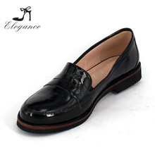 Russia Style Women Patent Genuine Leather Loafer Ladies Loafers Shoes